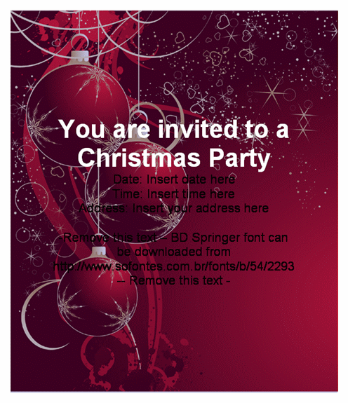 Christmas Party Invitation Templates Word 2003