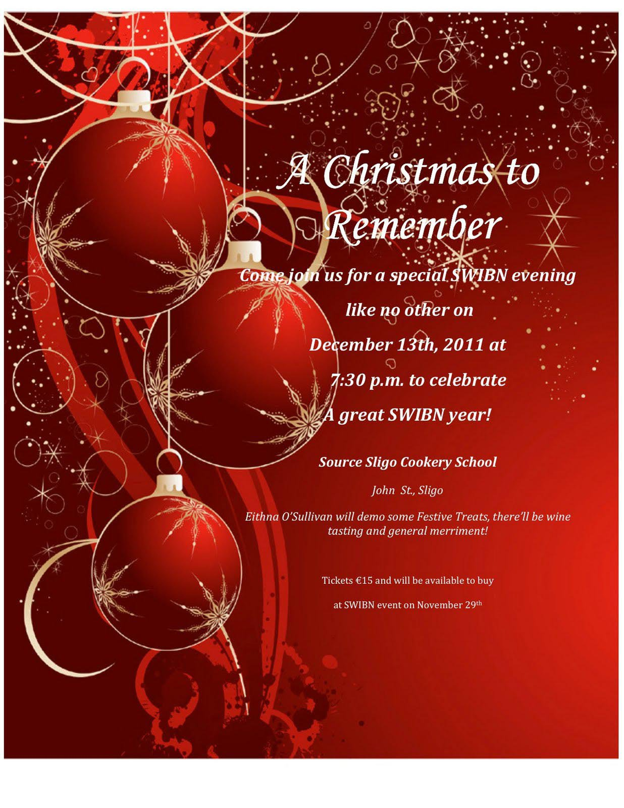 Christmas Party Invitations Wording Ideas