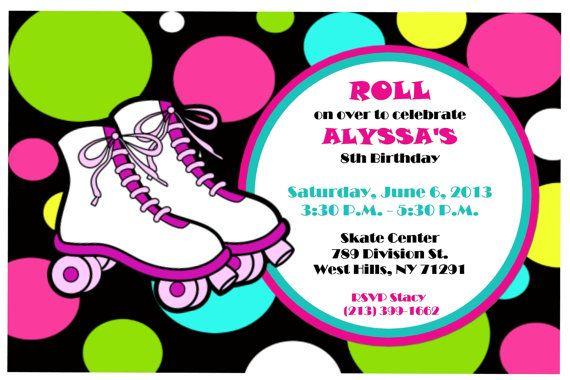 Circle Roller Skate Birthday Invitation