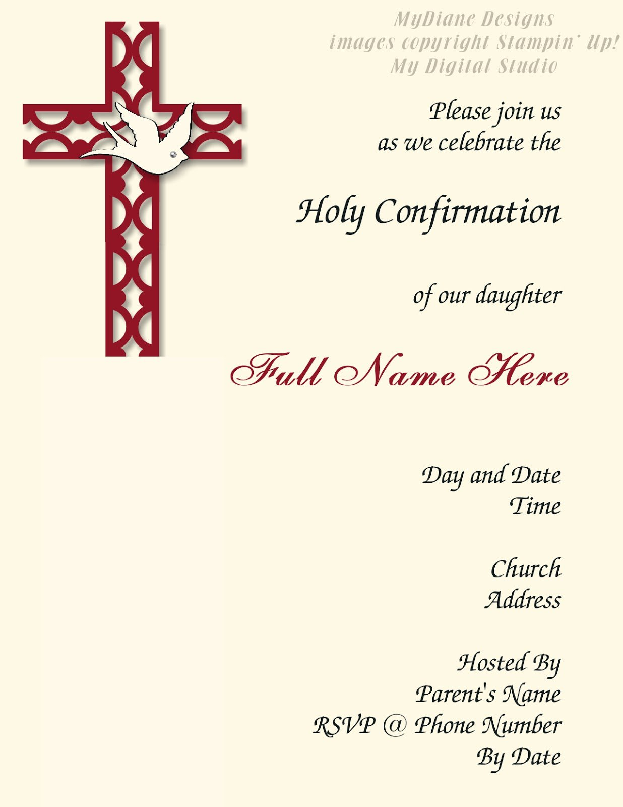Confirmation Invitations For Girls