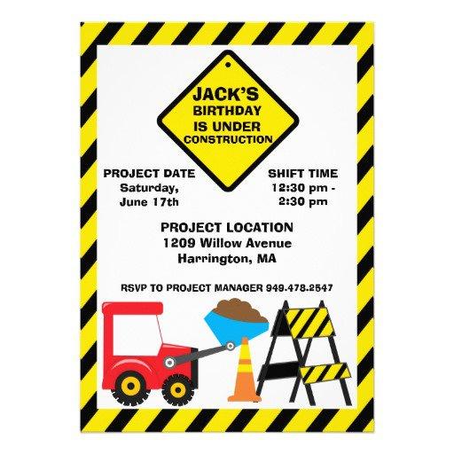 Construction Birthday Party Invitation Templates