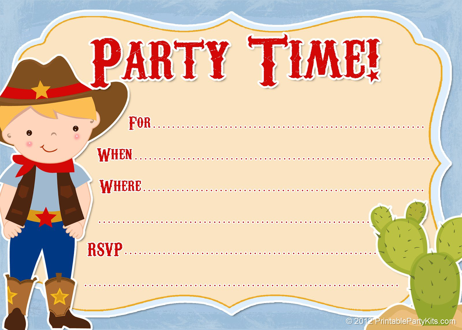 Cow Boys Printable Party Invitations