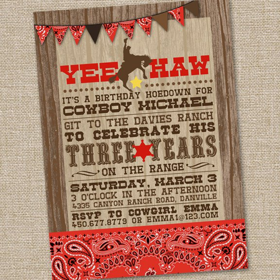 Cowboy Party Invitations Printable