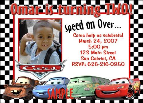 Custom Disney Cars Birthday Invitations