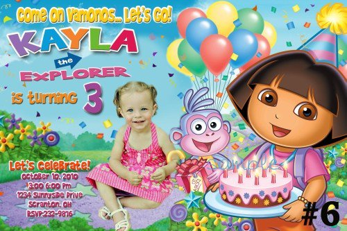 Custom Dora Birthday Invitations