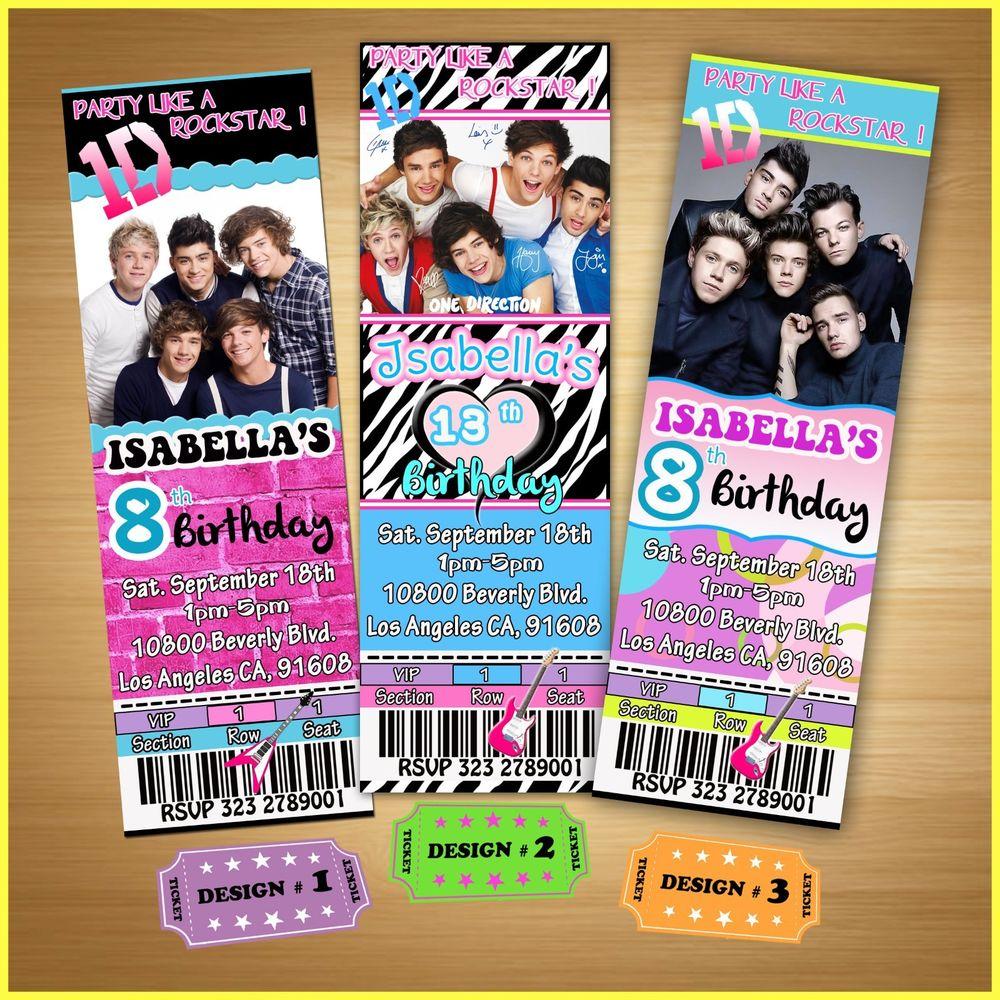 Custom One Direction Birthday Invitations