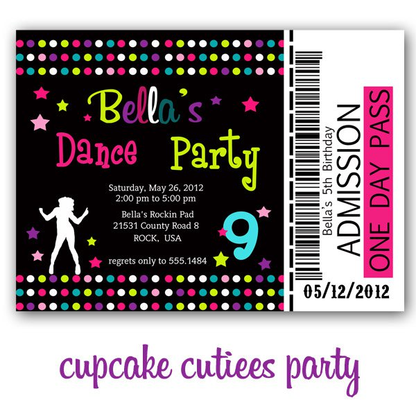 Dance Party Invitations Printable
