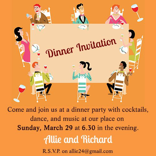 Dinner Party Invitation Wording Casual