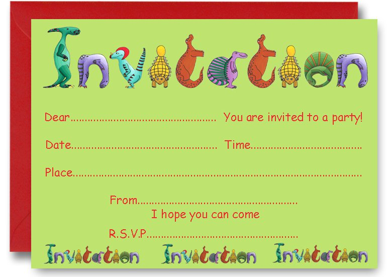 Dinosaur Birthday Party Invitations Templates