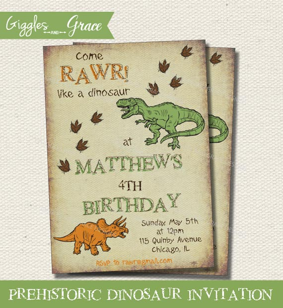 Dinosaur Printable Party Invitations