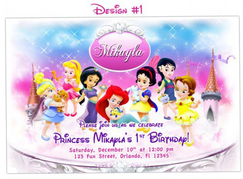 Disney Baby Princess 1st Birthday Invitations