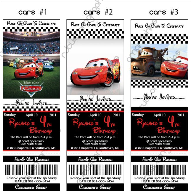 Cars Invitation Card Template Free: Disney Cars Birthday Invitations Printables