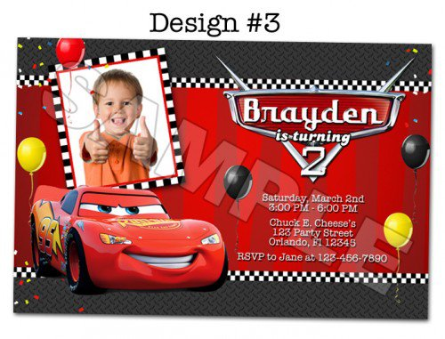 Disney Pixar Cars Birthday Invitations