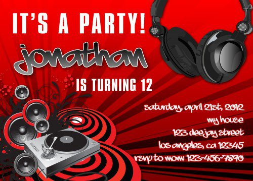 Dj Dance Party Invitations