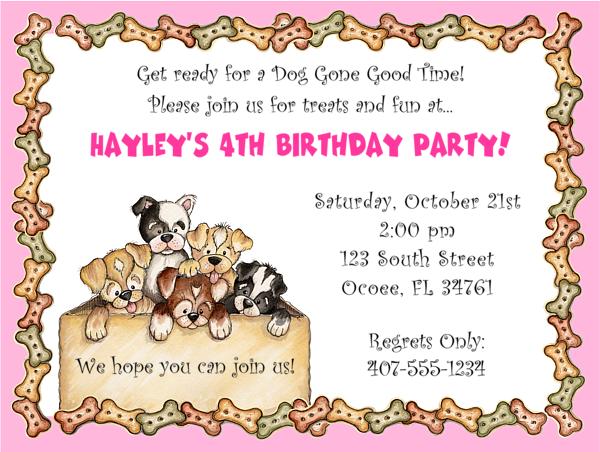 Dog Themed Birthday Invitation Wording
