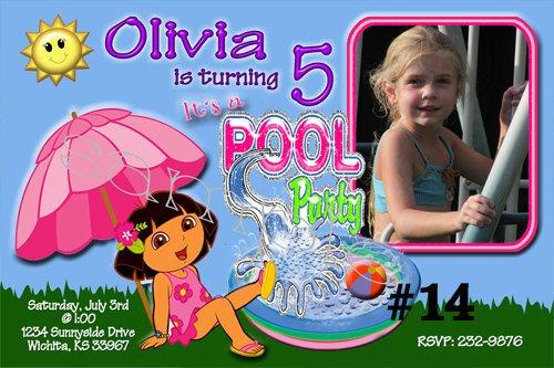 Dora Pool Party Invitations