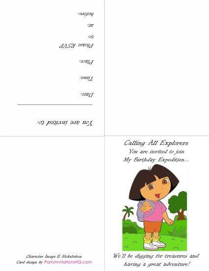 Dora The Explorer Invitations Printable Free