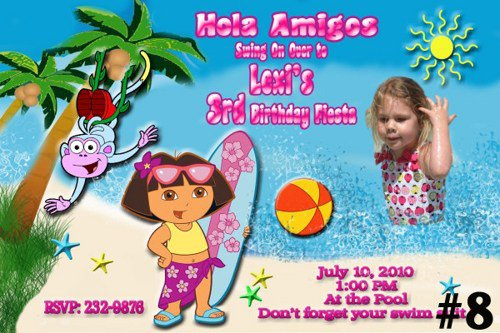 Dora The Explorer Pool Party Invitations