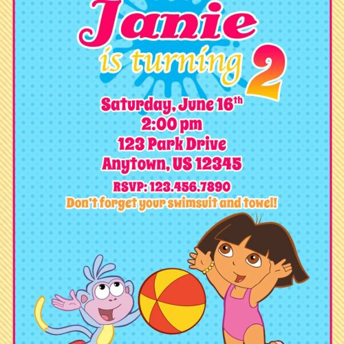 Dora The Explorer Pool Party Invitations