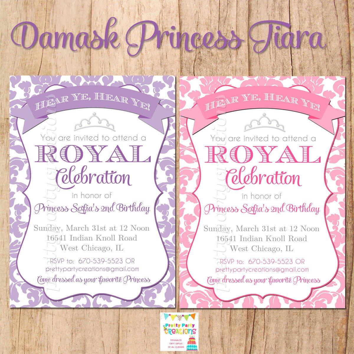 Elegant 1st Birthday Princess Invitations