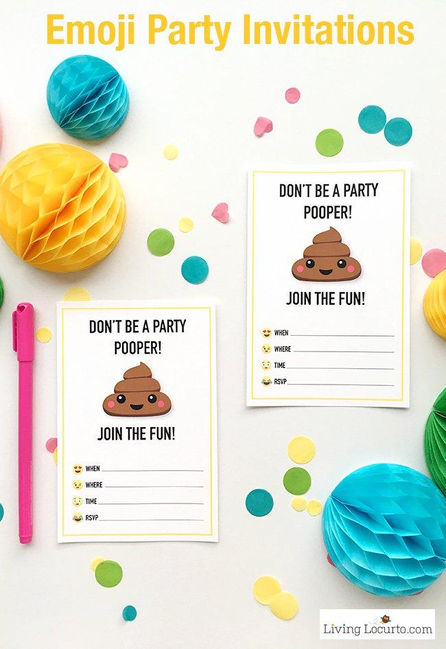 Emoji Birthday Invitations To Print