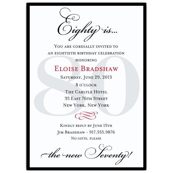 Examples Of 80th Birthday Invitations
