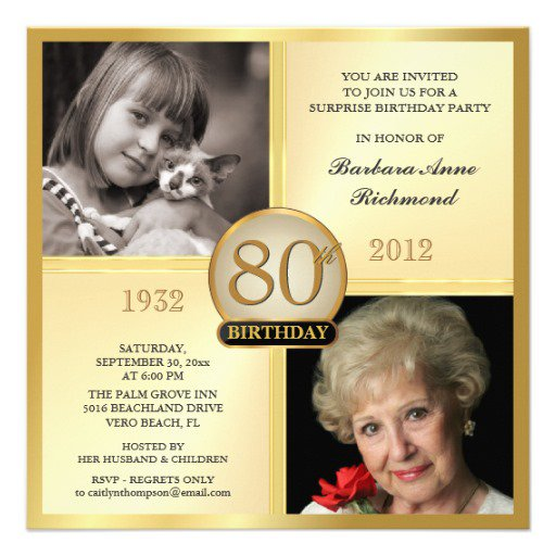 Examples Of 80th Birthday Party Invitations
