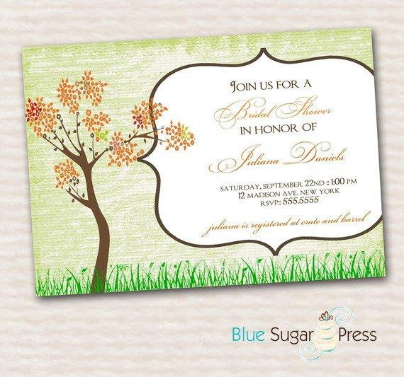 Fall Bridal Shower Invitations Printable Free