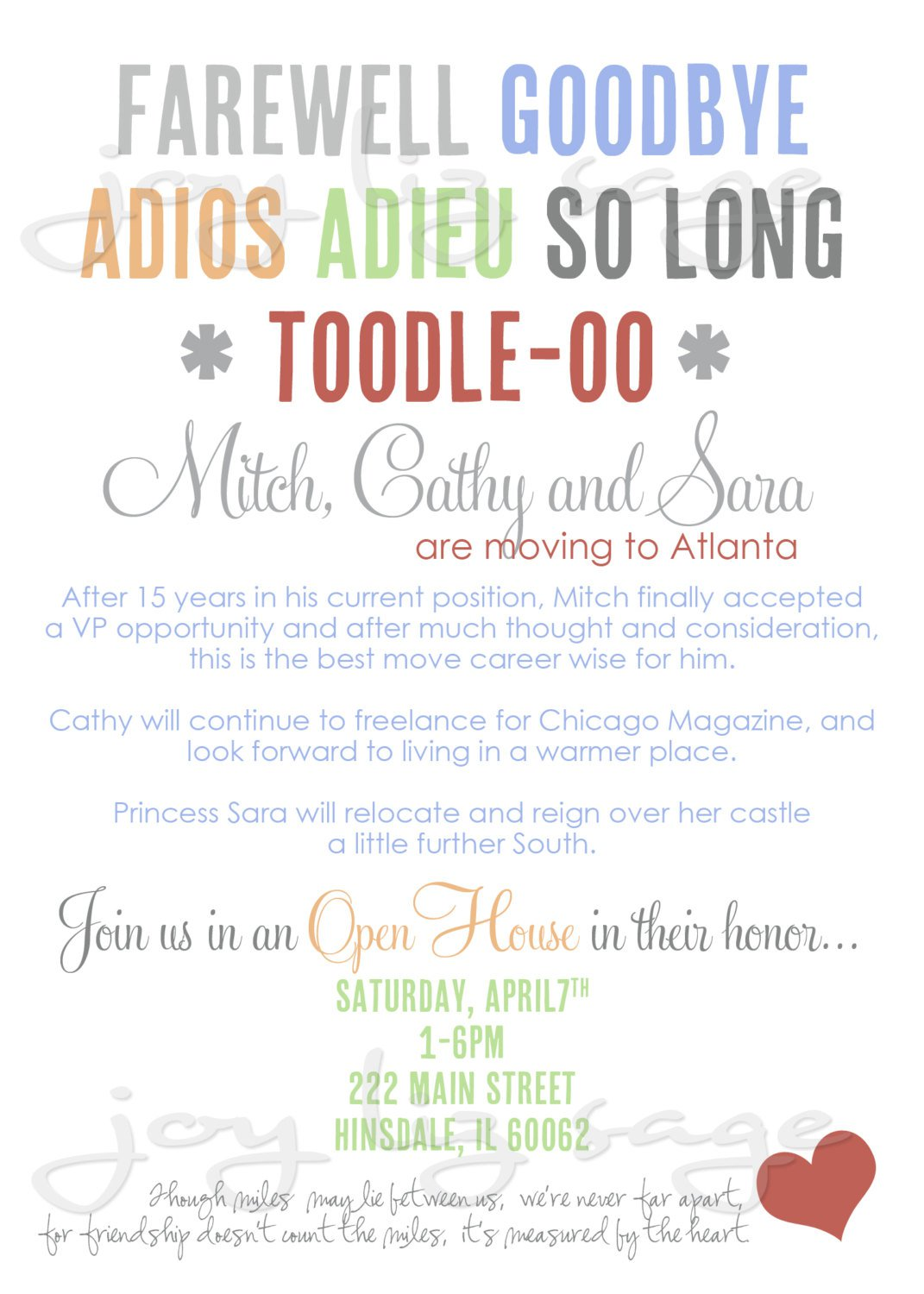 Fare Well Party Invitation Printable