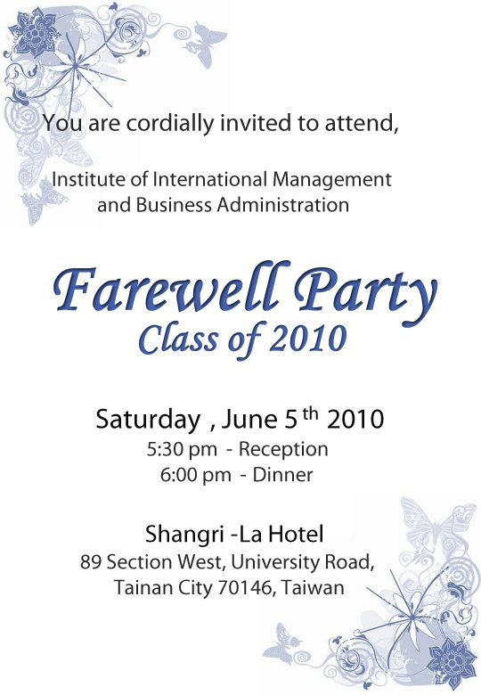 Farewell Party Invitation Cards For Seniors