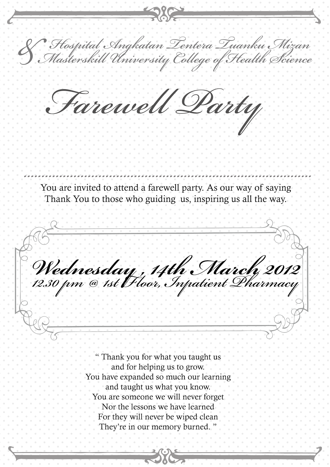 Farewell Party Invitation Wording
