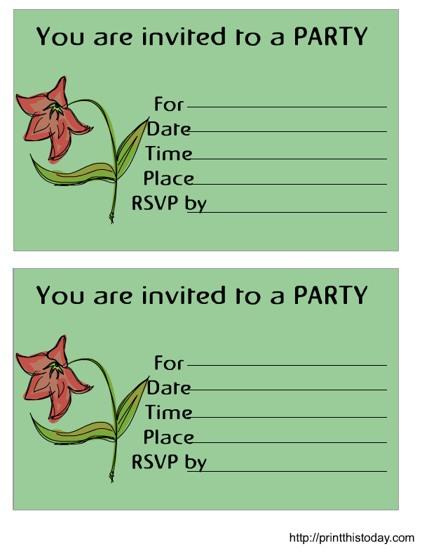 Flower Birthday Invitations Templates