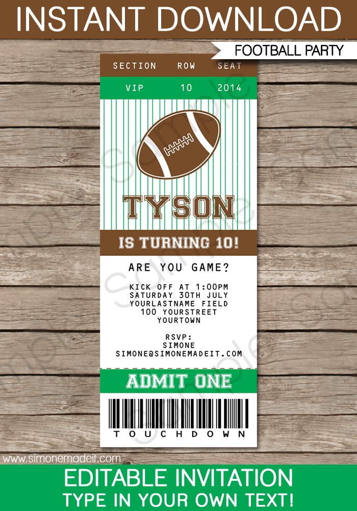 Football Birthday Invitations Templates For Free
