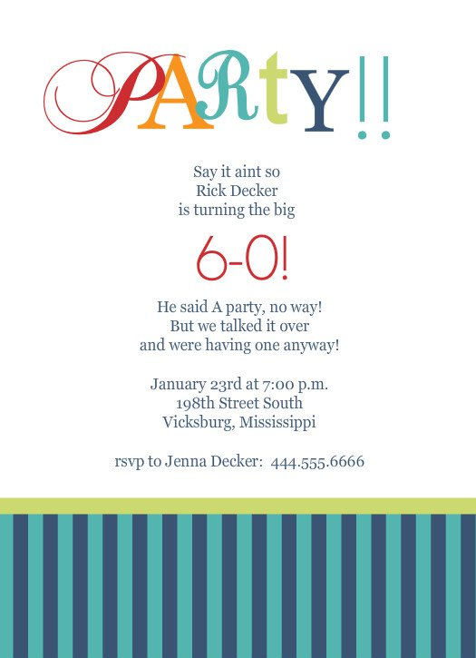 Free 60th Birthday Invitations