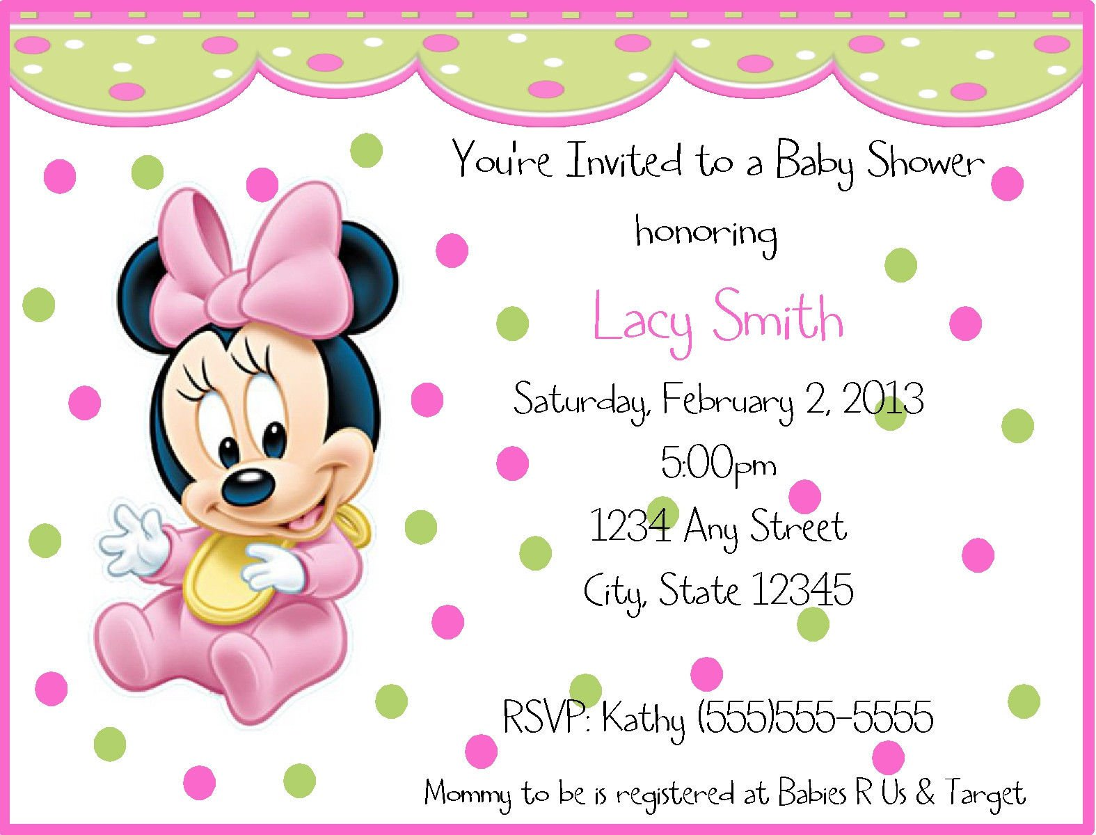 Free Baby Minnie Mouse Baby Shower Invitations