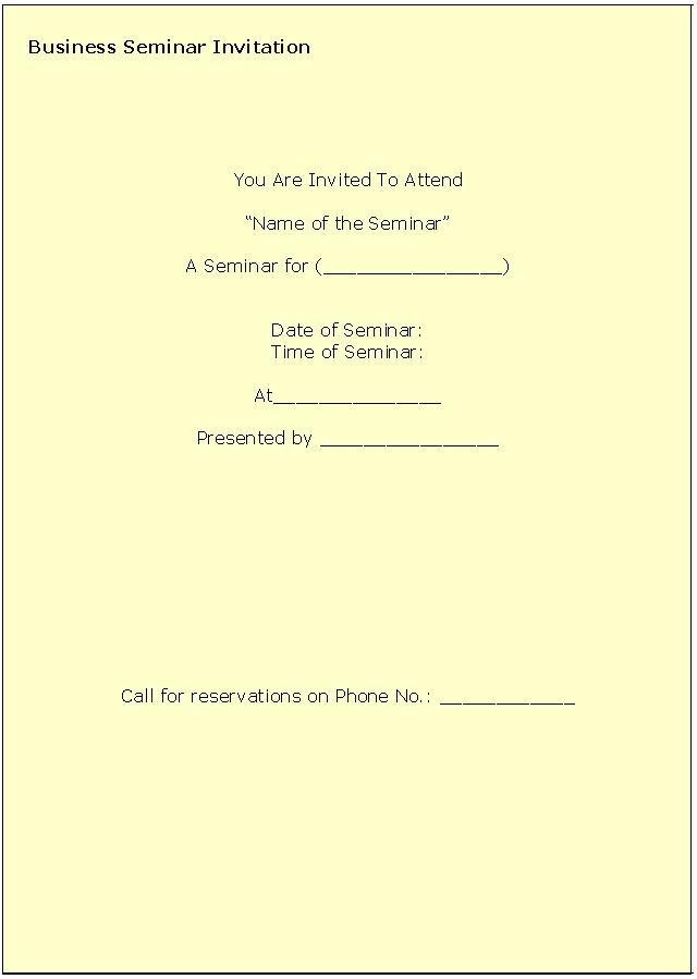Free Business Seminar Invitation Templates