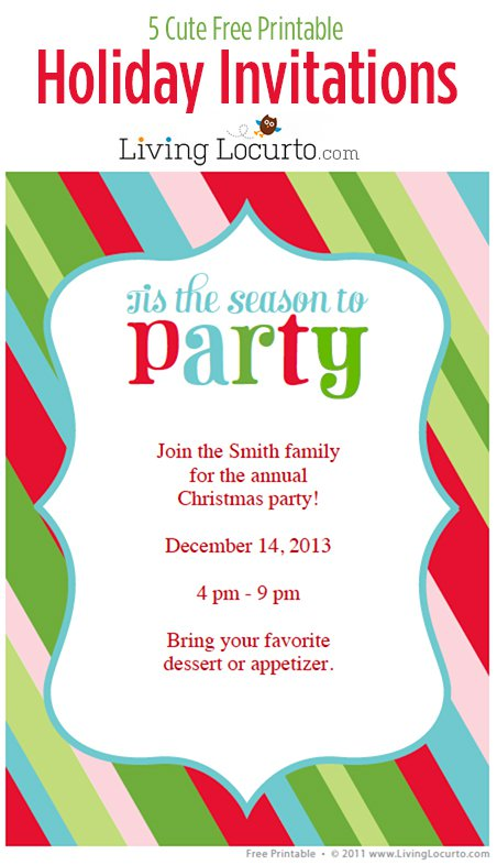 Free Christmas Printable Party Invitations
