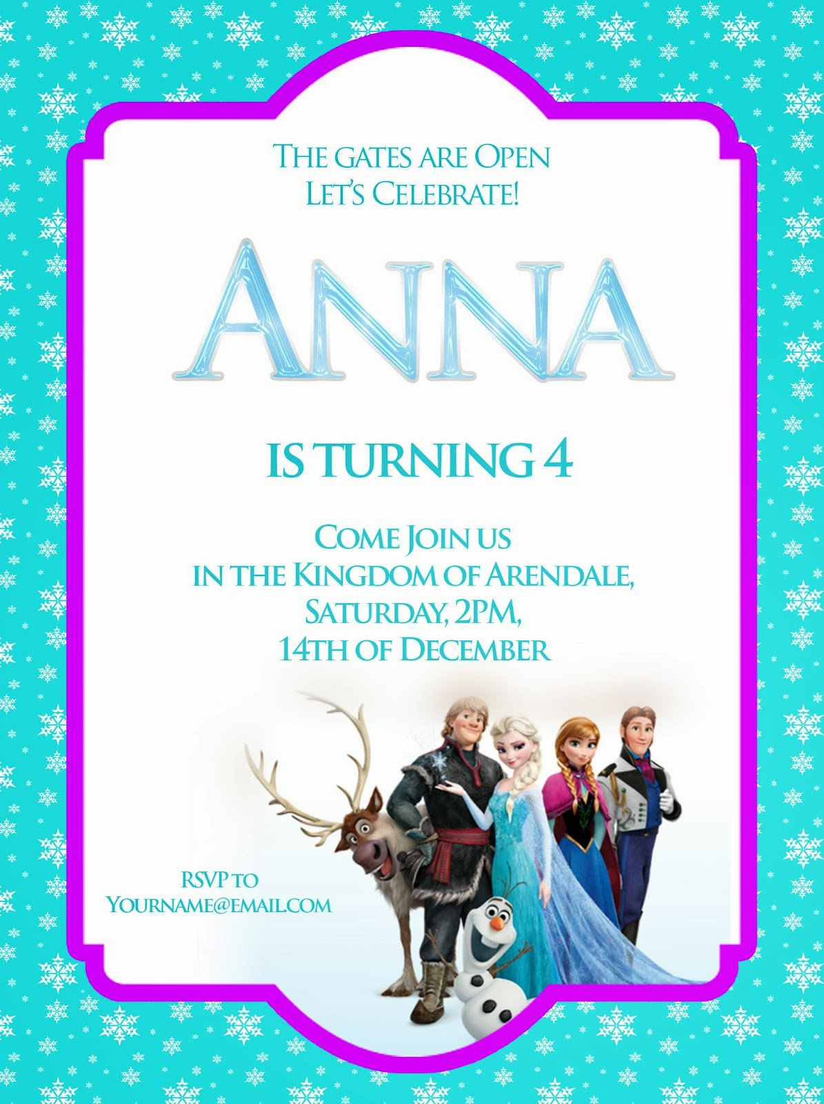 Free Downloadable Frozen Birthday Party Invitations
