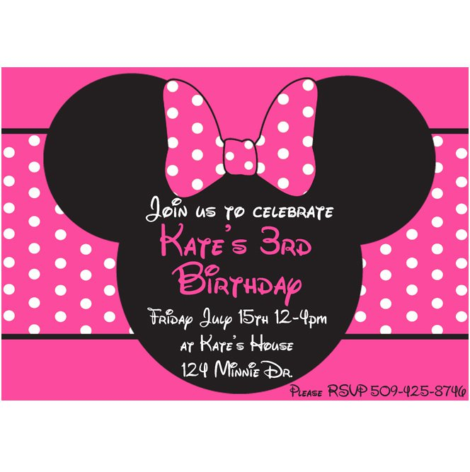 Free Downloadable Minnie Mouse Invitations