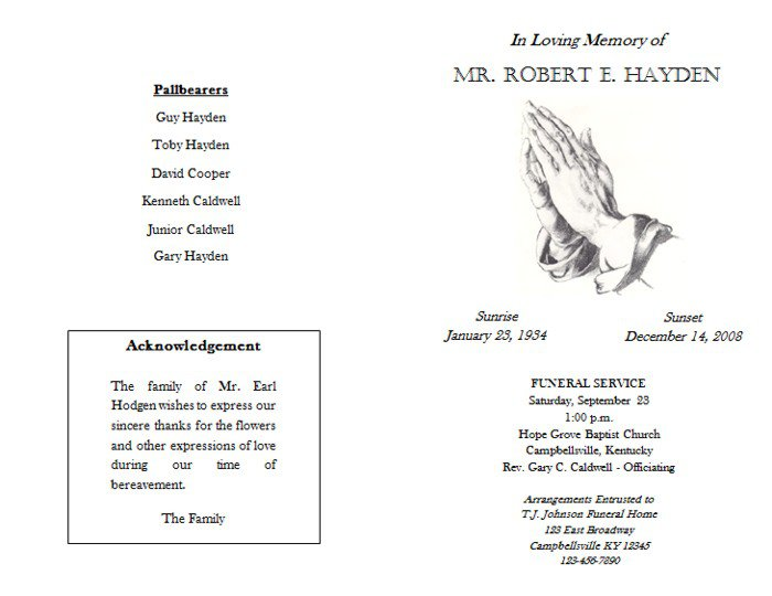 Free Funeral Booklet Template Catholic