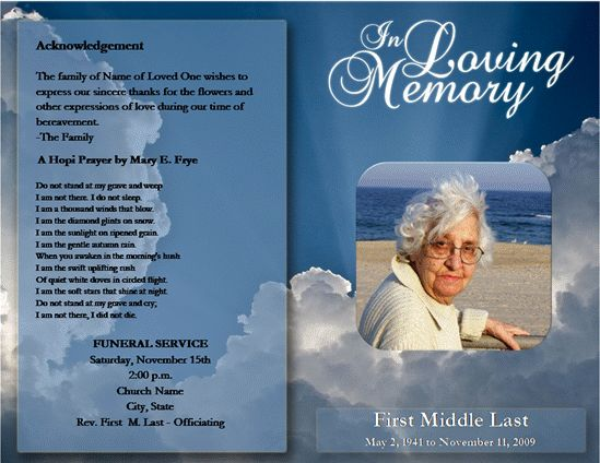 Free Funeral Booklet Template Word