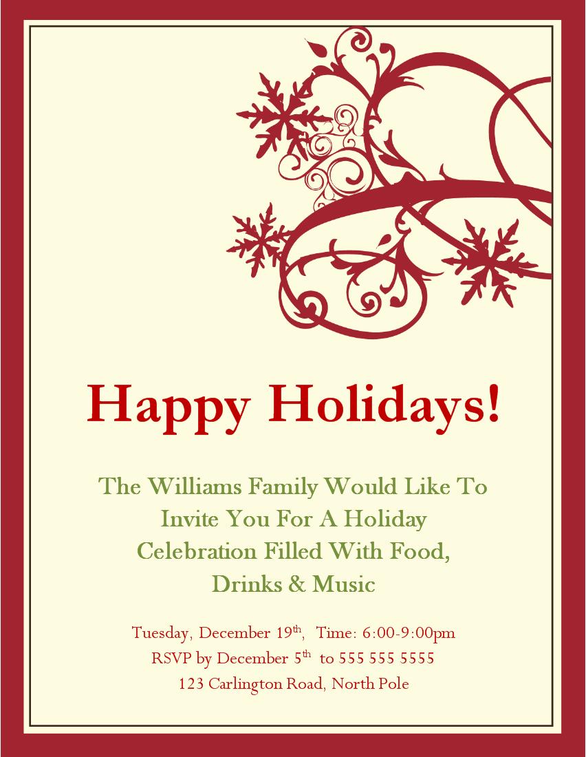 Free Holiday Invitation Cards Printable