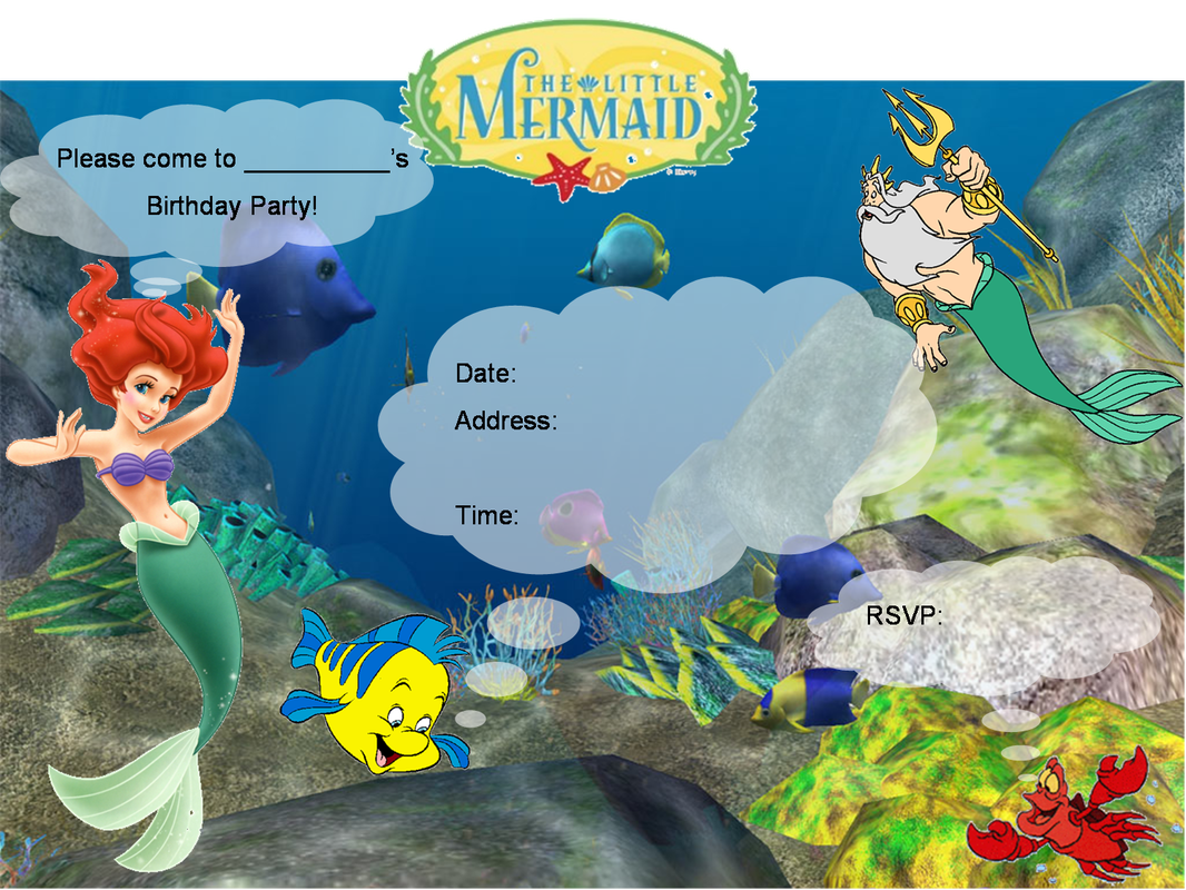 Free Little Mermaid Birthday Invitation Templates