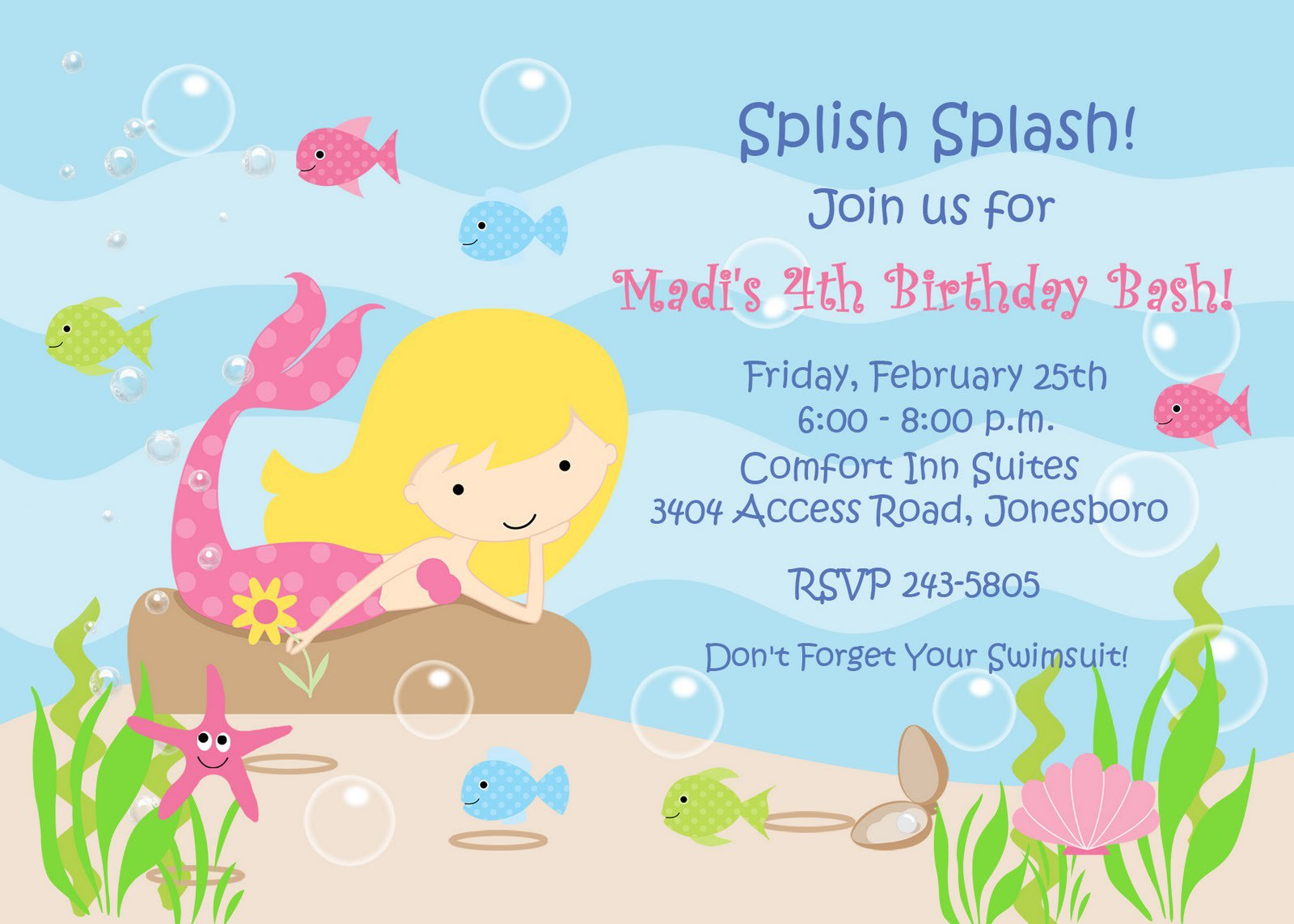 Free Little Mermaid Birthday Invitations