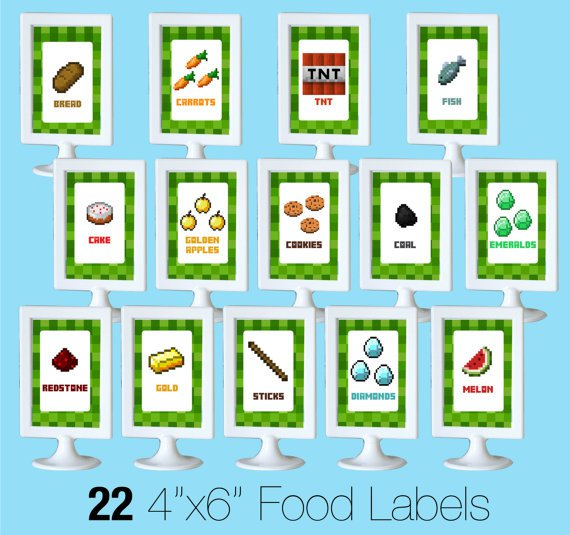 Free Minecraft Party Printables Food Labels
