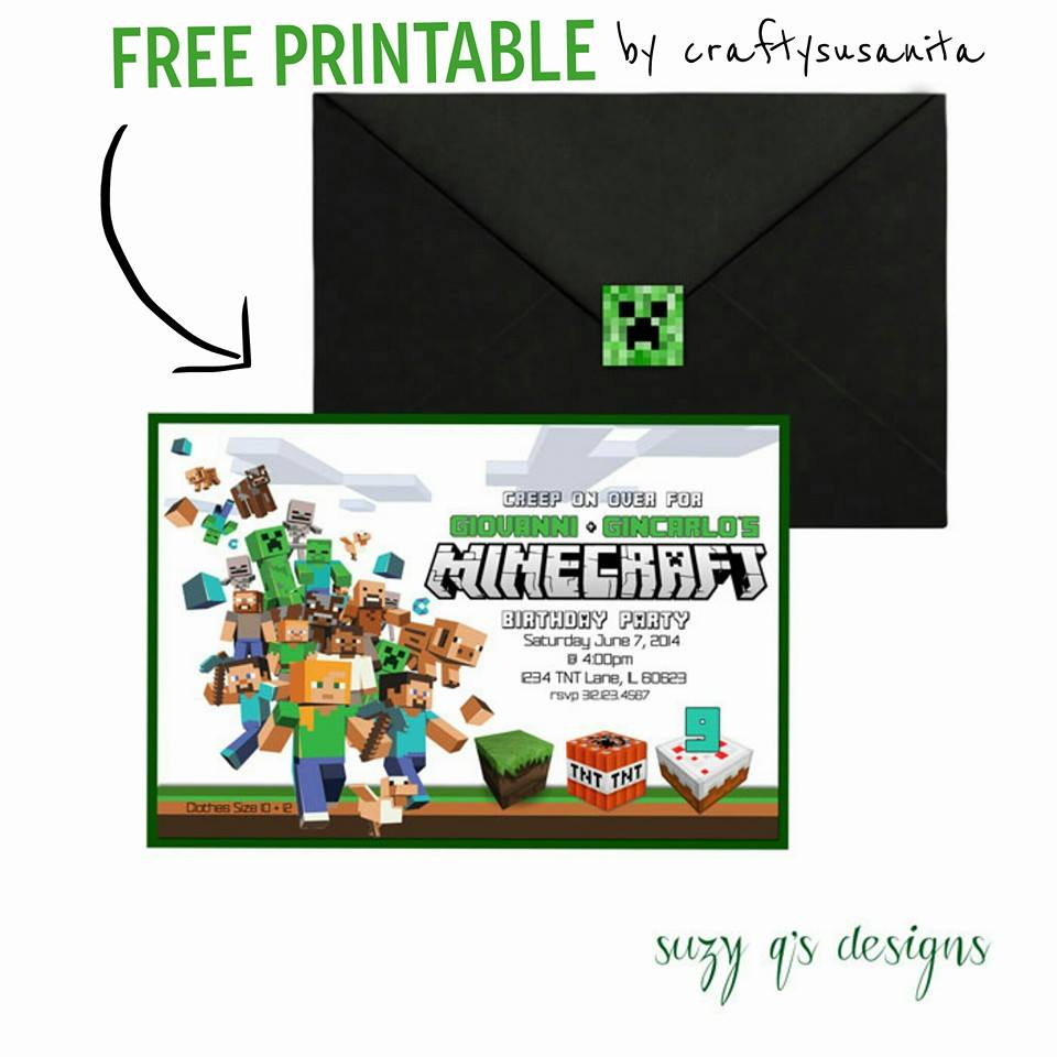 Free Minecraft R Nprintable Birthday Invitations