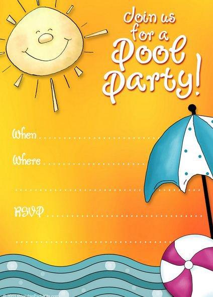 Free Pool Birthday Party Templates