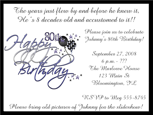 80th Birthday Invitation Templates Printable – Free 80th Birthday Invitation Templates