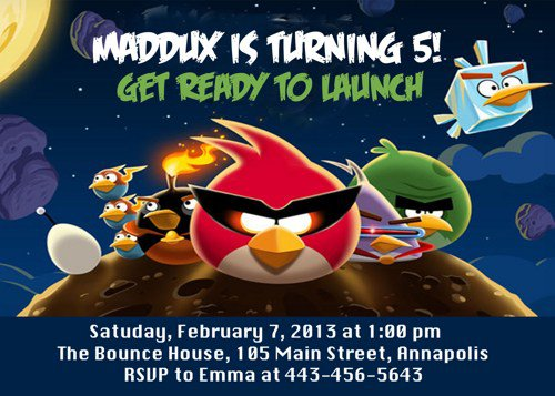 Free Printable Angry Birds Invitation Cards
