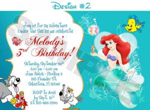 Free Printable Ariel Birthday Party Invitations